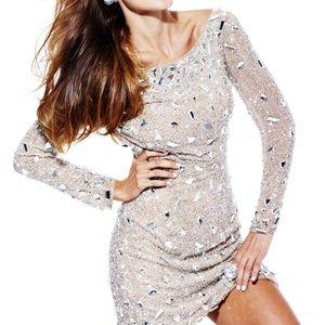 Sherri Hill silk long sleeve cocktail dress, nude